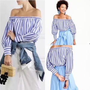 J Crew x Thomas Mason Off Shoulder Striped Blouse